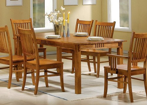 Mission Rectangular Dining Table (Mission Style Light Oak Solid HardWood Dining Table)