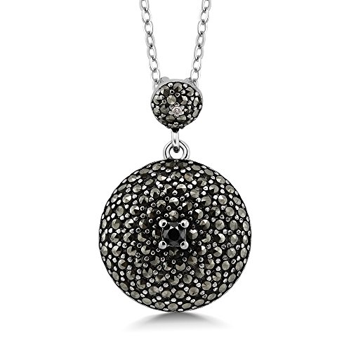 Gem Stone King Sterling Silver Round Marcasite Pendant Necklace With Black Diamond Accent On 18 Inch Chain