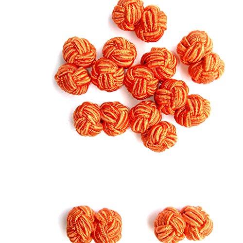 (Silk knot cufflink rope cufflink barrel cufflink elastic round bar shirt cufflink (brown))