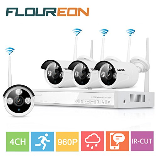 Floureon 4CH Full HD Indoor Outdoor Wireless CCTV 1080P Security Camera System DVR Kit with Four Waterproof WIFI WLAN 1.3MP 960P HD IR Bullet IP Cameras Security Video Recorder NVR System (White) by Floureon