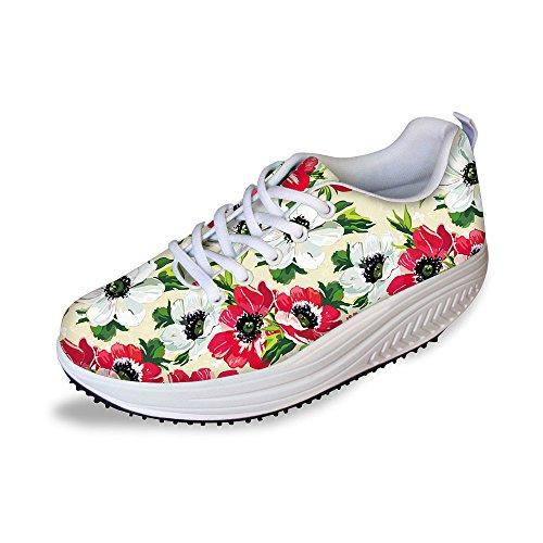For U Design Vintage Floral Rose Print Fitness Walking Sneaker Uformelle Kvinners Kiler Platåsko Rød Hvit