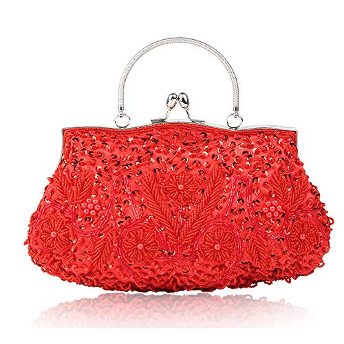 Wedding Red Glitter Ladies for Bag Fadirew amp; Handmade Bags Evening Party Bag Beaded Ball Vintage Handbag Sequin Women Cluth Exquisite Bridal Beads 1T55qw