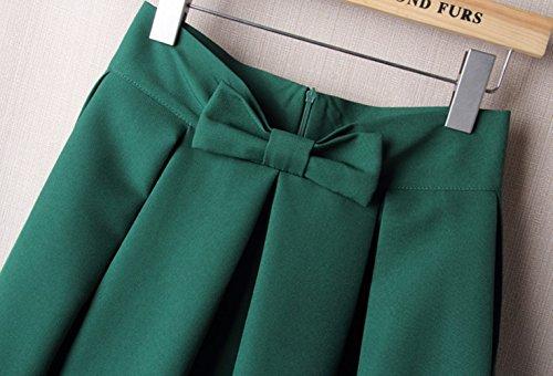 au genou plisss Pantalons en haute Womens Fashion demi jupe en Vert uideazone taille Summer Bwq7PtBU