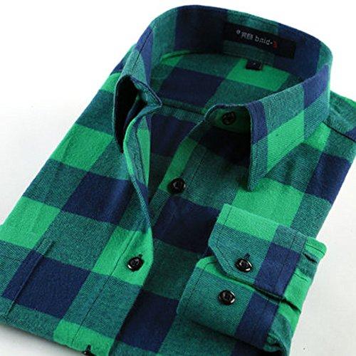 貧困有彩色のリラックスしたSpinas(スピナス) メンズ ブロックチェック ネルシャツ 秋冬 カジュアルスタイルに欠かせない チェック柄 フランネル 長袖シャツ 全3色 ( ホワイト グリーン レッド )