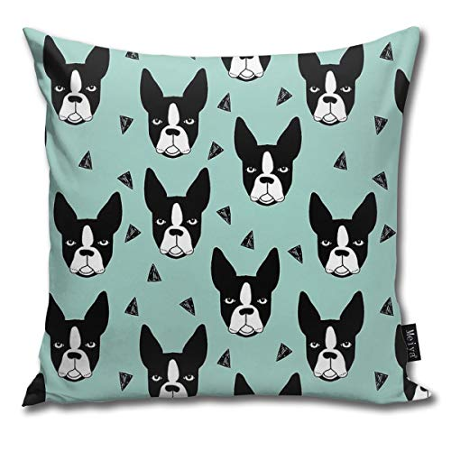 Dadi-Design Boston Terrier Mint Throw Pillowcase Home Sofa Cushion Cover Gift Decorative -