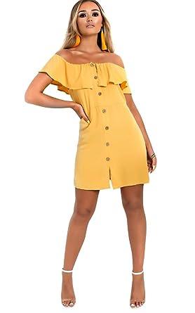 be97e4c81d02 IKRUSH Womens Vivi Off Shoulder Button Up Dress Yellow at Amazon Women's  Clothing store: