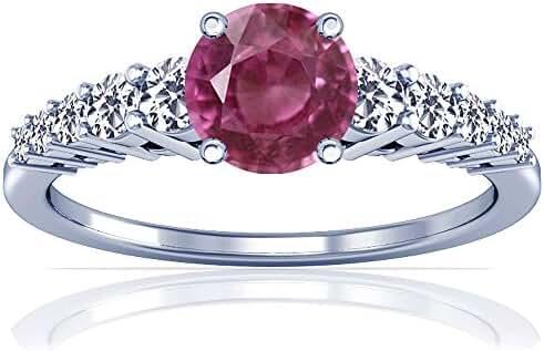 Platinum Round Cut Pink Sapphire Ring With Sidestones