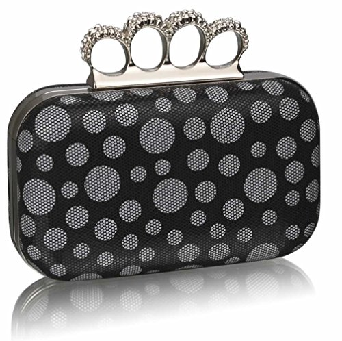 For Purse Ceremony Clutch Wedding Night Diamante LeahWard® Out Clutches Luxury Women's Handbag BLACK Beads DOT CLUTCH XqUfA8F