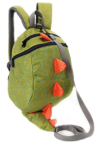 Children's Safety Harness Backpacks Girl Boys Baby Anti-lost Package Dinosaur Bags (Green)