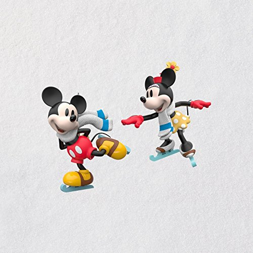 (Hallmark Mini Christmas Ornaments 2018 Year Dated, Disney Mice on Ice Miniature, Set of 2, Mickey Minnie)
