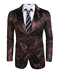 Coofandy Men's Stylish Notched Lapel Floral Casual Blazers One Button Suit Jackets