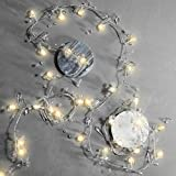LED Garland String Light with Acrylic Crystal Beads, Warm White Glow, 7.5 ft