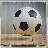 SARA NELL Polyester Fabric Bathroom Shower Curtain Set With Hooks, Vintage Wood And Soccer, Waterproof Mildew Resistant Fabric, 60 X 72 Inches