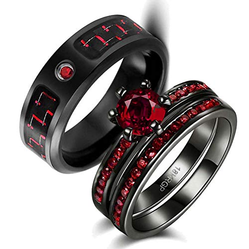 wedding ring set Two Rings His Hers Couples Matching Rings Women's 2pc Black Gold Filled Red CZ Wedding Engagement Ring Bridal Sets Men's Stainless Steel Wedding Band