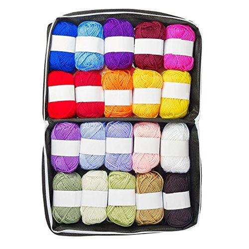 Homespun Acrylic Yarn - Mind My Thread 20 Extra Large Super Soft Acrylic Yarn Skeins Set | Assorted Colors Crochet & Knitting Craft Yarn Kit with Reusable Storage Bag | 20 Colors Yarn Multi Pack
