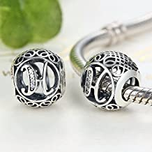 PAHALA 925 Sterling Silver 26 Letters With Crystals Pendant Charms Fit Bracelets Necklace