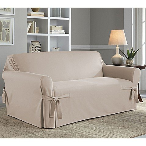 Perfect Fit Relaxed Fit Cotton Duck Loveseat Slipcover in Stone