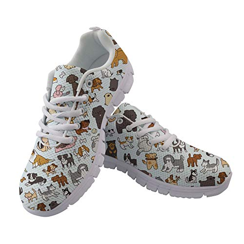 Casual Fashion Flats Doggy Coloranimal Sneakers Women Running up Print Art Doodle Lace Walking tqxCdaCw