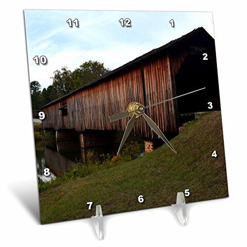Covered Bridge Picture (3dRose dc_34586_1 Covered Bridge-Desk Clock, 6 by 6-Inch)