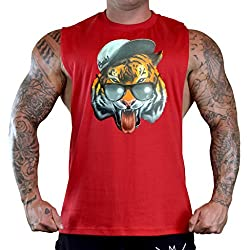 Men's Fresh Snapback Tiger Tee Red Gym T-Shirt Tank Top Small Red