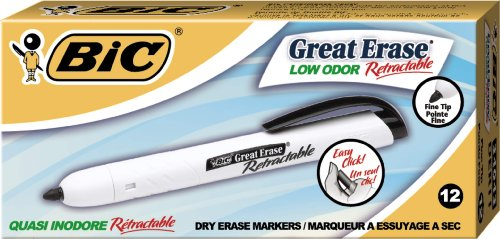 BIC Great Erase Retractable Fine Point Dry Erase, Black, 12 Markers