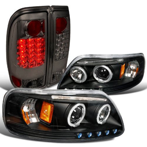 (Spec-D Tuning LT2LHP-F15097JGL-TM Headlight Tail Light (Style Side Black Halo Projector Smoked LED))