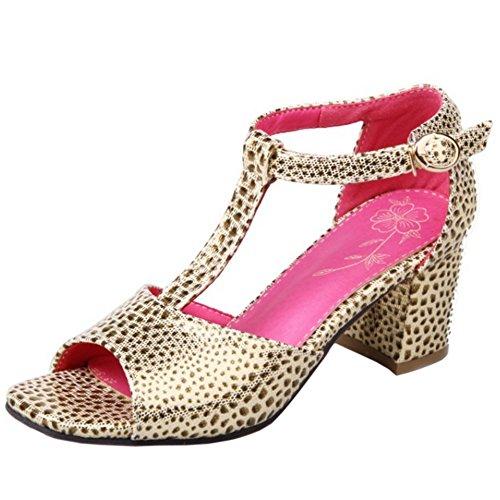 Classic Sandali Block Heel Beige Leopard Mid T Taoffen strap 0xnfvq0d