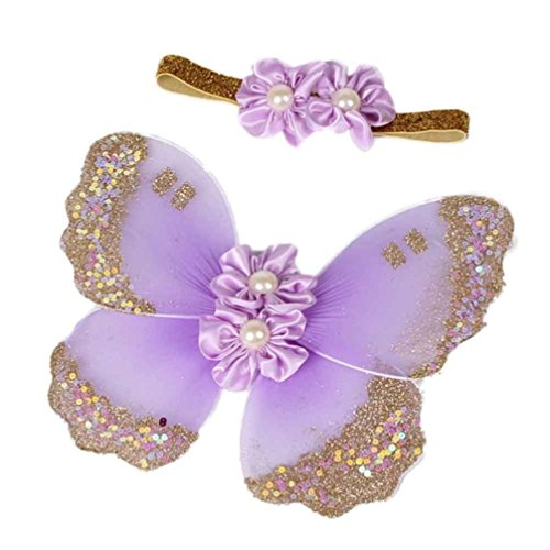 DZT1968 Baby Girl Headband with Butterfly Wing Costume Photo Prop Outfit (Light Purple) -