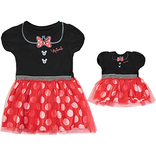 Disney Minnie Mouse Toddler Girl & Doll Costume Tutu Dress Set, Black/Red -