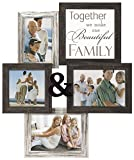 Malden International Designs Wall Sentiments Together We Make One Beautiful Family with Ampersand Collage Frame, 4 Option, 1-4×6 & 1-5×5 & 2-5×7, Black Review