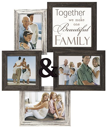 Malden International Designs Wall Sentiments Together We Make One Beautiful Family with Ampersand Collage Frame, 4 Option, 1-4x6 & 1-5x5 & 2-5x7, Black