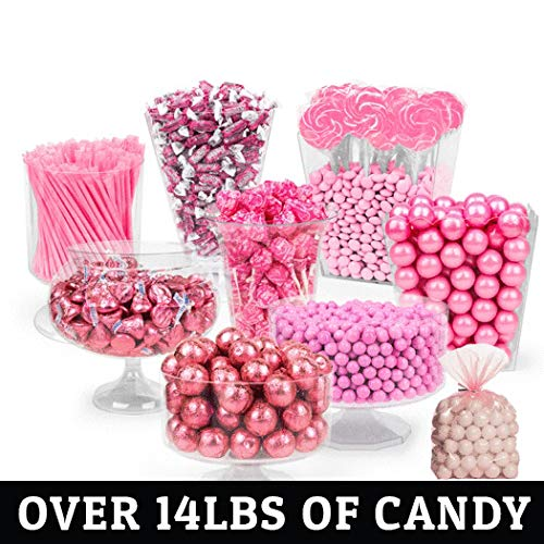 Pink Candy Buffet - (Approx 14lbs) Includes Hershey's Kisses,Gumballs, Dum Dum Lollipops, Frooties & More - Feeds approx 24-36 people ()