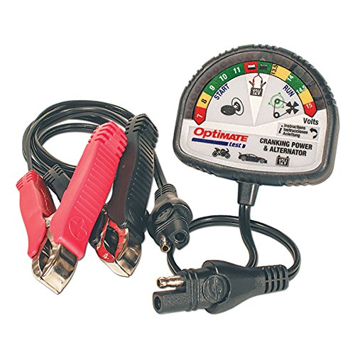 (Tecmate OptiMATE TEST – Cranking & Alternator, TS-121, 12V tester for battery state of charge, cranking performance and vehicle charging system.)