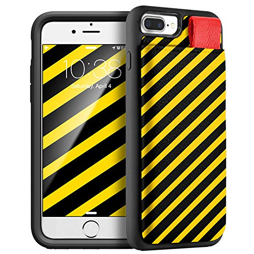 (iPhone 8 Plus Case, LAMEEKU iPhone 7 Plus Wallet Case Stripes Pattern Design Credit Card Slot Leather TPU Bumper Protective Cover Compatible for iPhone 7 Plus / 8 Plus 5.5'' - Black Yellow Stripes)
