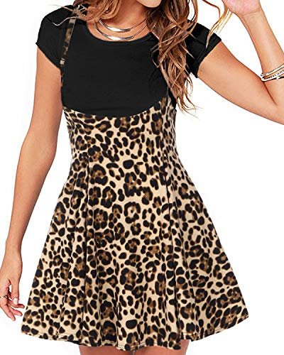 YOINS Women's Suspender Skirts Basic High Waist Versatile Flared Leopard Print Skater Skirts Leopard-Coffee XL
