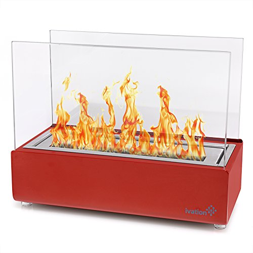 Ivation Vent less Compact Tabletop Fireplace – Red Stainless Steel Portable Bio Ethanol Fire Place for Indoor & Outdoor Use – Includes Decorative Fireplace, Fuel Canister & Flame Snuffer (Personal Gel Fireplace)