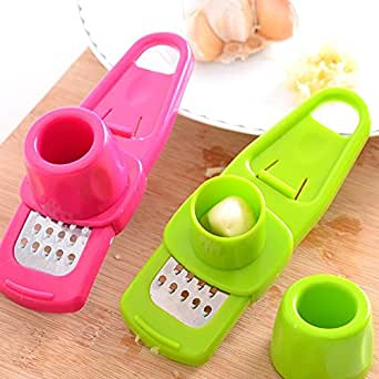 Multi Functional Microplaner and Grater for Ginger or Garlic Kitchen Tool Color: Rose/green