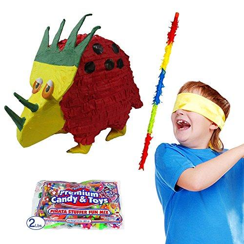 Pinatas Triceratops Dinosaur Kit, Buster Stick, Bandana and 2 lbs. Candy Filler