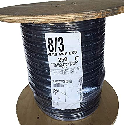Solid Copper Wire 50 ft 10//2 wG Submersible Well Pump Wire Cable