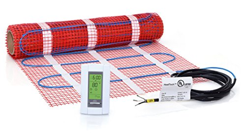 10 sqft Mat Kit, 120V Electric Radiant Floor Heat Heating System w/ Aube Programmable Floor Sensing Thermostat