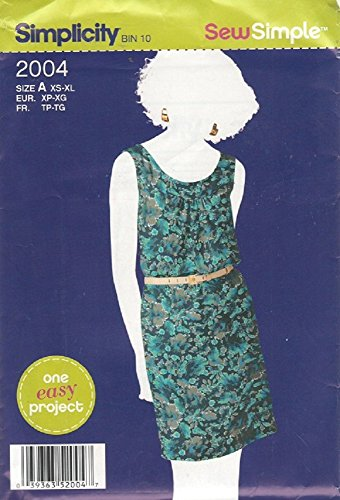 Simplicity Pattern 2004 - Misses Pullove Dress - Size X-Small - X-Large