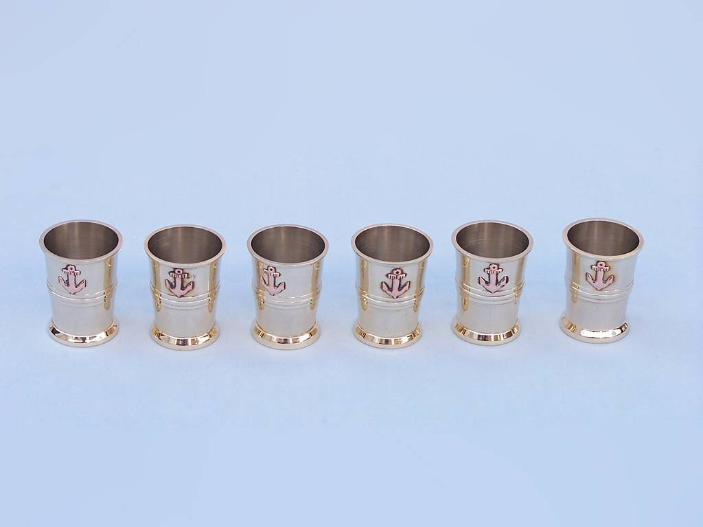 Hampton Nautical  Brass Anchor Shot Glasses with Rosewood (Set of 6)
