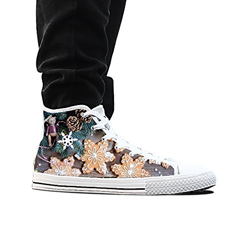 Sneakers, custom Christmas Decoration Flowers high top canvas shoes classic casual fashion Mens white