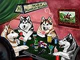 Home of Alaskan Malamute 4 Dogs Playing Poker Art Portrait Print Woven Throw Sherpa Plush Fleece Blanket (37x57 Sherpa)