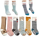 6 pairs non skid toddler socks baby boy girl socks with grid cotton knee high sock (S (0-2 Years))