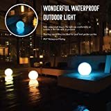 INNOKA 15.75-inch Waterproof Rechargeable Floating Glow Ball LED Lamp w/Remote Control, Multiple Lighting Effects, Hanging Hook, Grass Stake, Perfect For Outdoor, Indoor, Poolside, Garden Parties