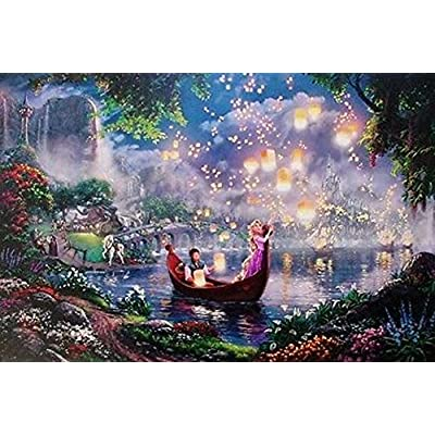 THOMAS KINKADE FANTASIA LADY & THE TRAMP WINNIE THE POOH TANGLED DISNEY DREAMS COLLECTION 4 IN 1 JIGSAW PUZZLE SET 500 pieces: Toys & Games