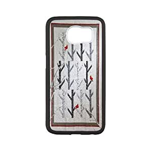Custom White Tree and Red Bird S6 Phone Case, White Tree and Red Bird DIY Cell Phone Case for Samsung Galaxy S6 at Lzzcase