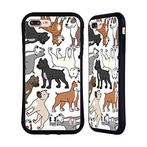 (Head Case Designs Pitbull Terrier Dog Breed Patterns 3 Hybrid Case for iPhone 7 Plus/iPhone 8 Plus)