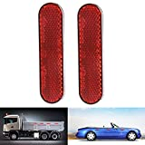 YUIOP Red Reflector,2 Pcs Oval Adhesive Backed Reflector for Car Truck Bike Van